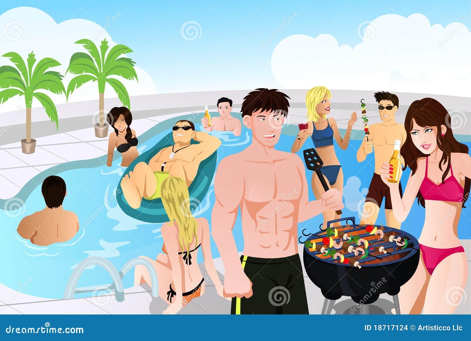 Grilla przyjęcia basenu lato