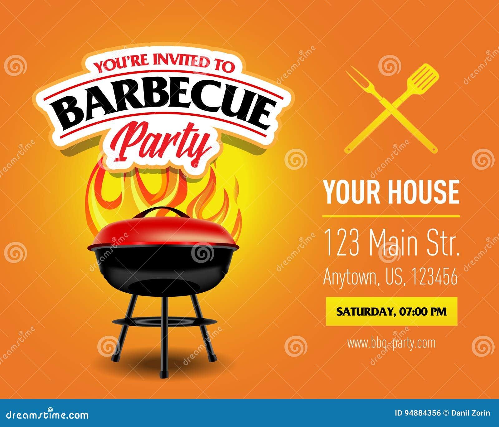 Grilla przyjęcia projekt, grilla zaproszenie Grilla logo BBQ szablonu menu projekt Grilla jedzenia ulotka Grill reklama