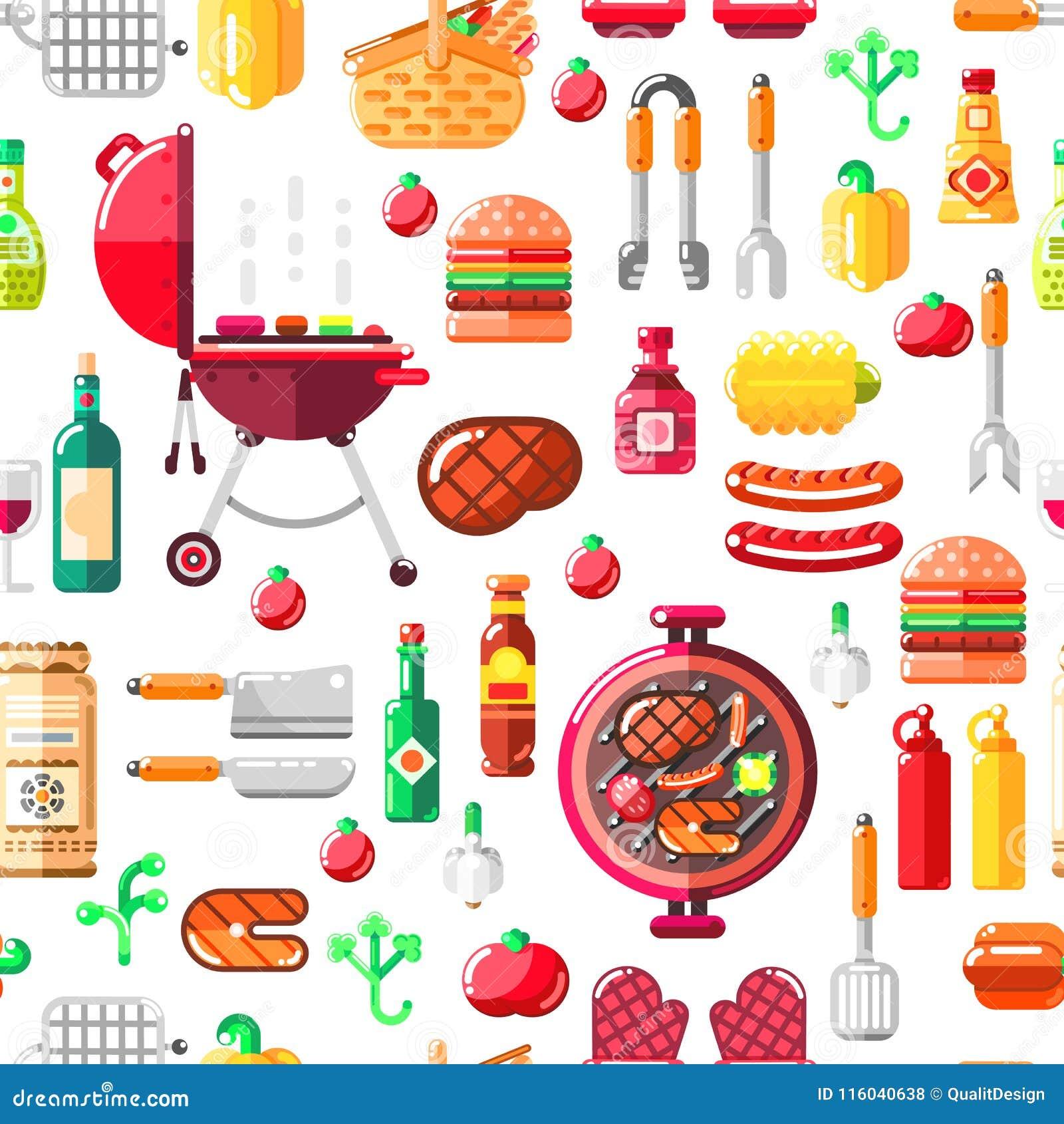 Grilla grilla wektoru bezszwowy wzór BBQ jedzenie, wyposażenie i narzędzia ilustracyjni, Druku lub pakunku nowożytny płaski proje