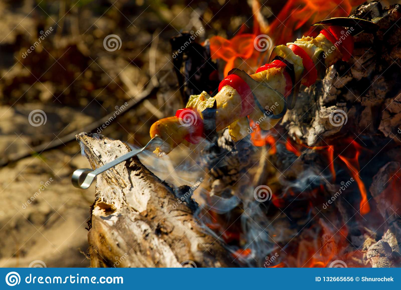 Grillad grönsakkebab i den öppna branden på pinnen