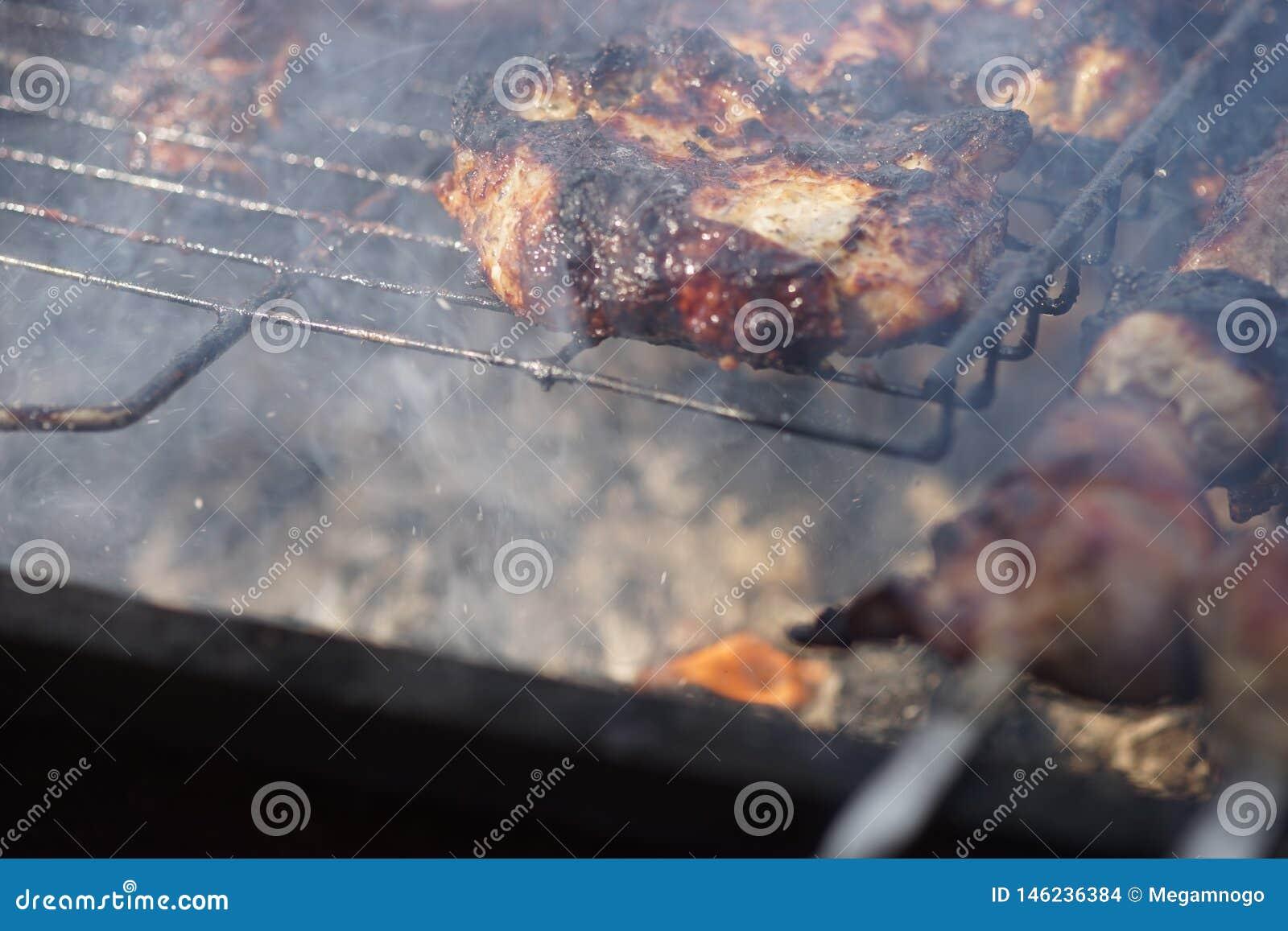 Grillad kebabmatlagning p? metallstekn?len E