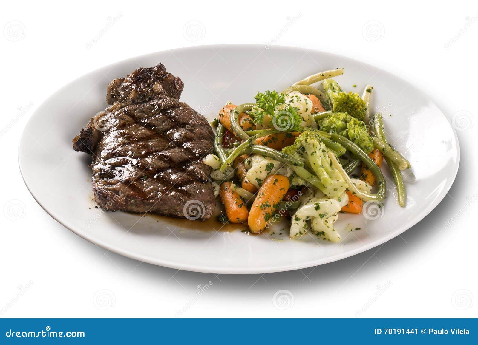 Grillade biffar och grönsaker