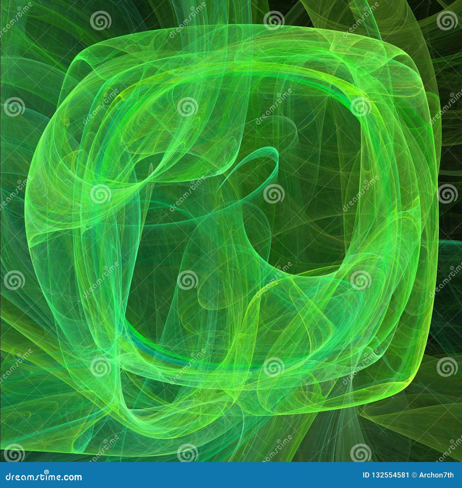 Grille abstraite avec les lignes incurvées Vert sur l illustration noire de fond