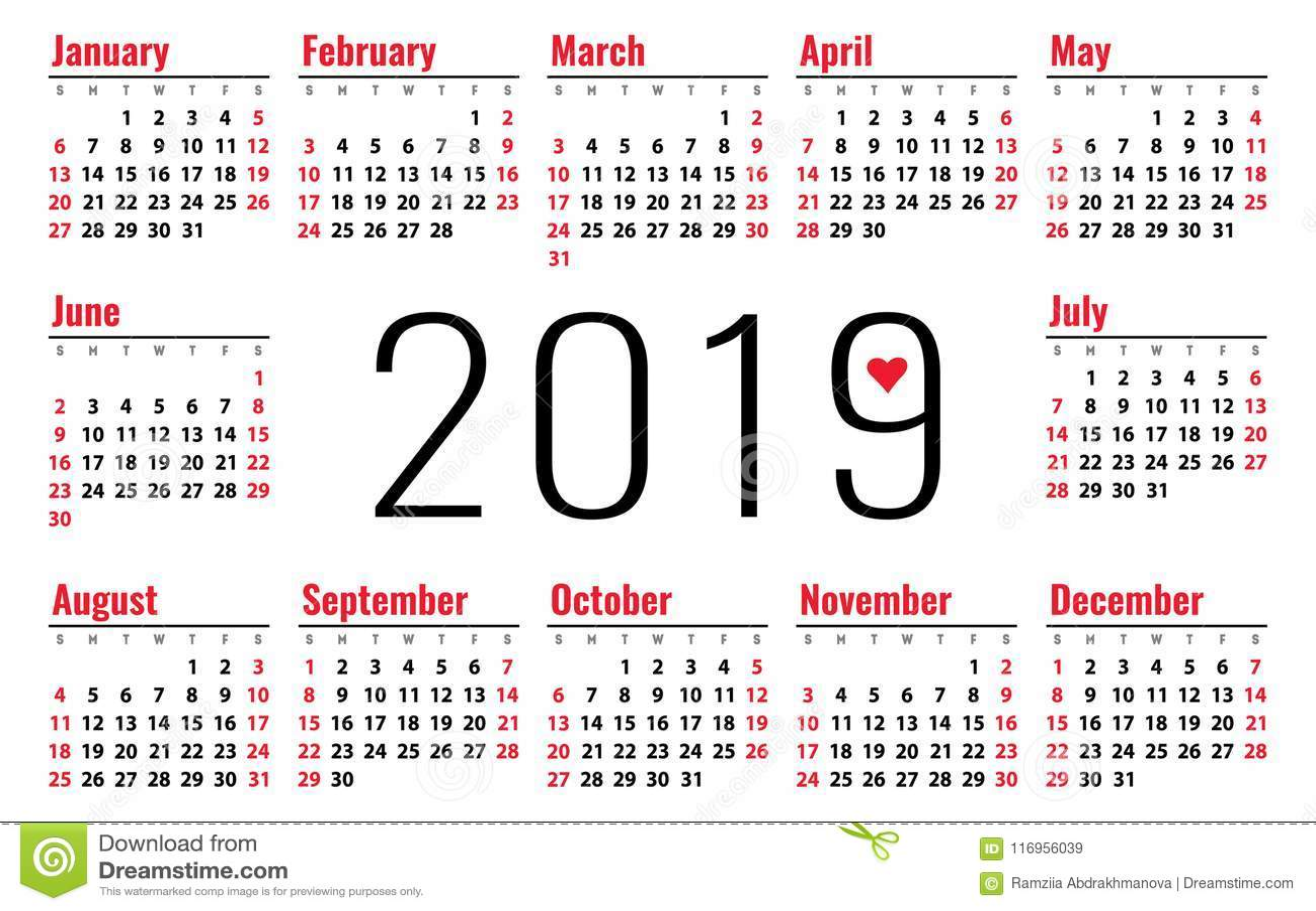 Petit Calendrier 2019.Grille De Base De Vecteur Du Calendrier 2019 Calibre De