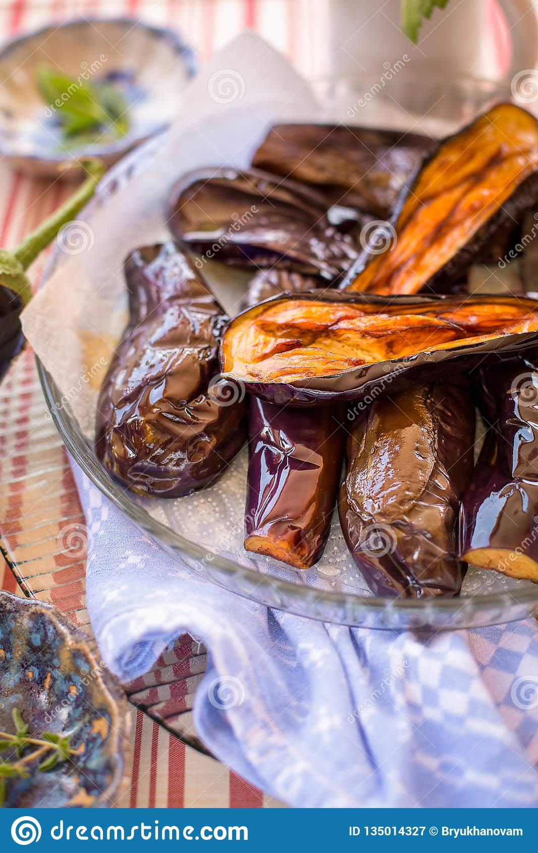 Grilled aubergines on a plate