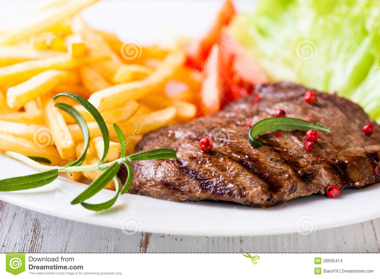 Grilled beef steak with french fries