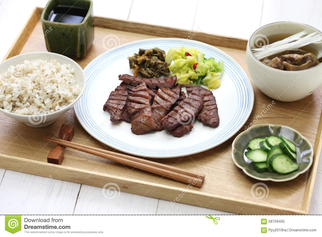 Grilled beef tongue japanese food stock photo image for Aqua malaysian thai cuisine