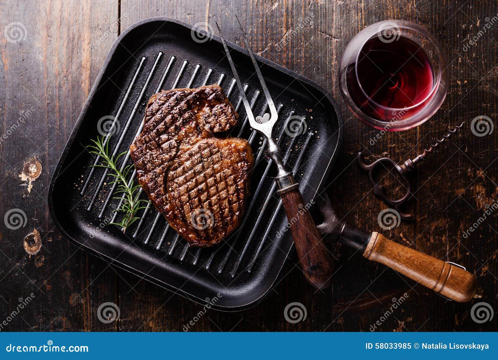 Grilled Black Angus Steak Ribeye on grill pan