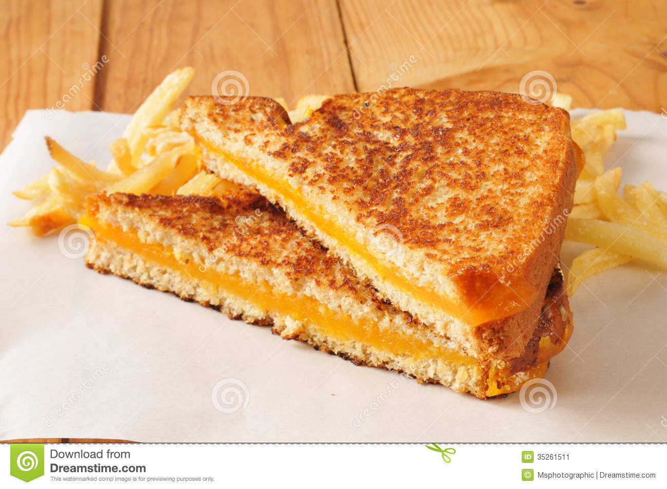 Grilled cheese sandwich with  Gourmet Grilled Cheese And Fries