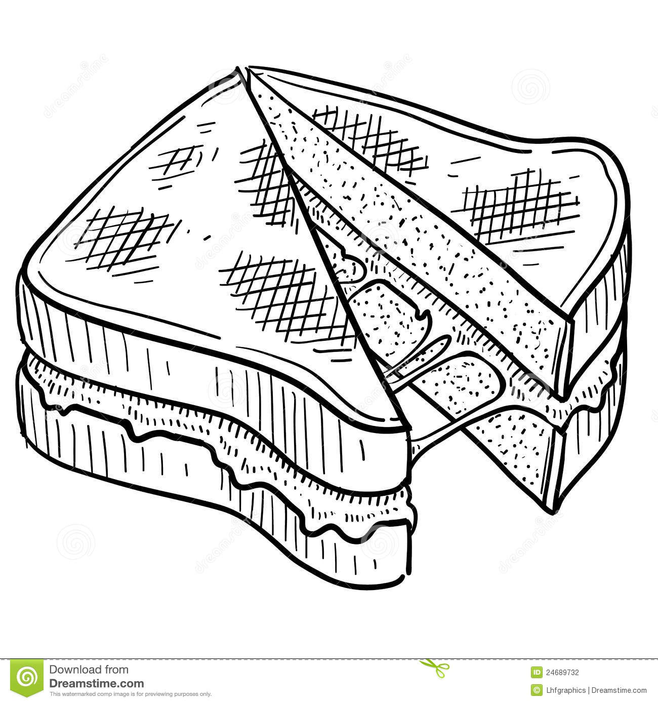 cheese coloring pages - grilled cheese sandwich sketch stock vector illustration