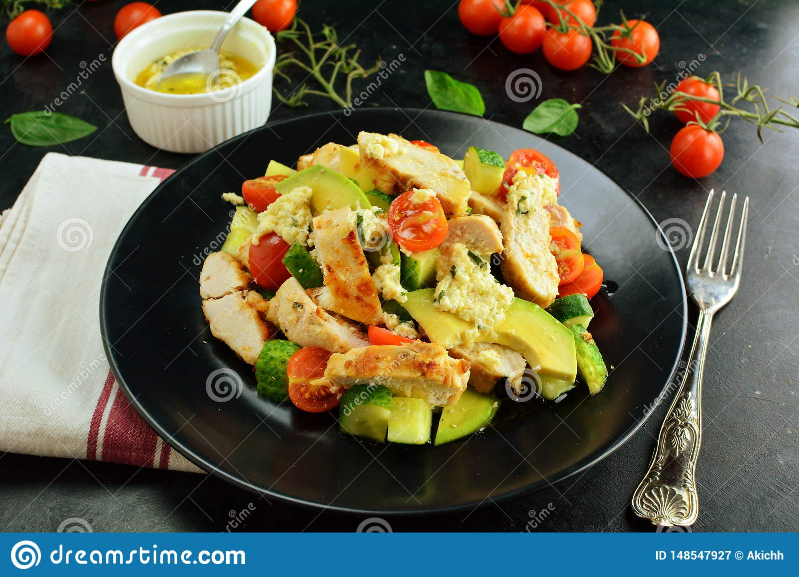 Grilled Chicken Breast And Avocado Salad With Dijon And Lemon Dressing Healthy Keto Diet Meal Stock Image Image Of Copy Fire 148547927