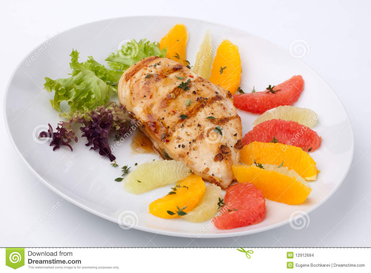 Grilled Chicken Breast And Citrus Salad Stock Images - Image: 12912684