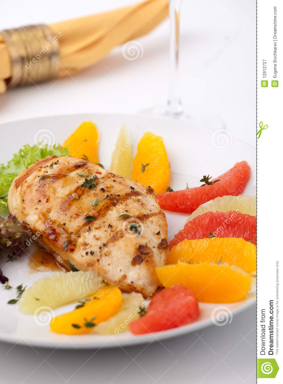 Grilled Chicken Breast And Citrus Salad Royalty Free Stock Photography ...