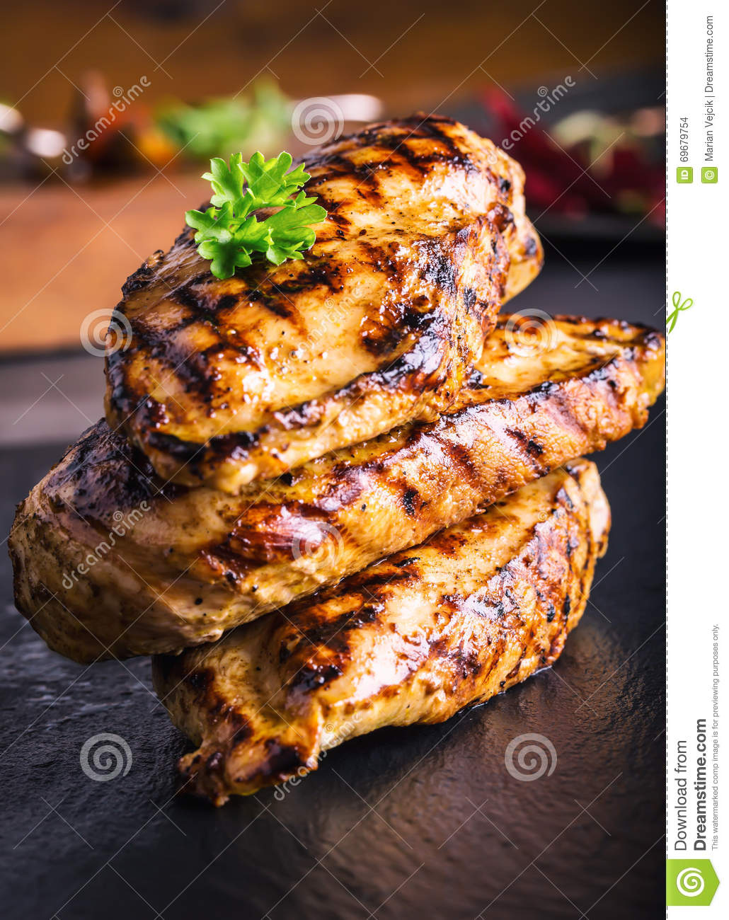 Grilled Chicken Breast In Different Variations With Cherry ...