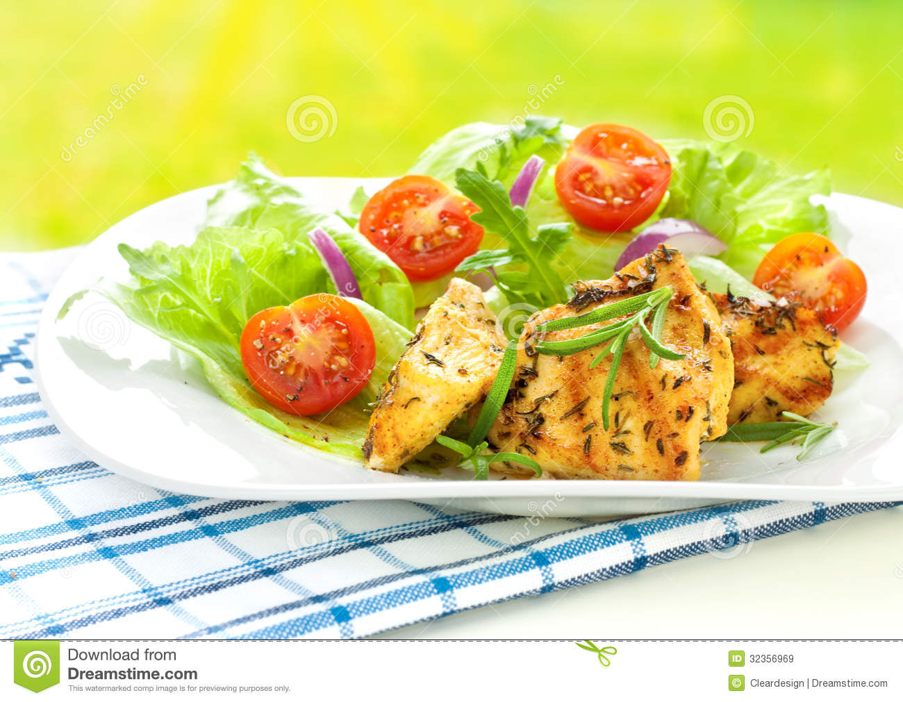Grilled chicken breast fillet with fresh spring salad