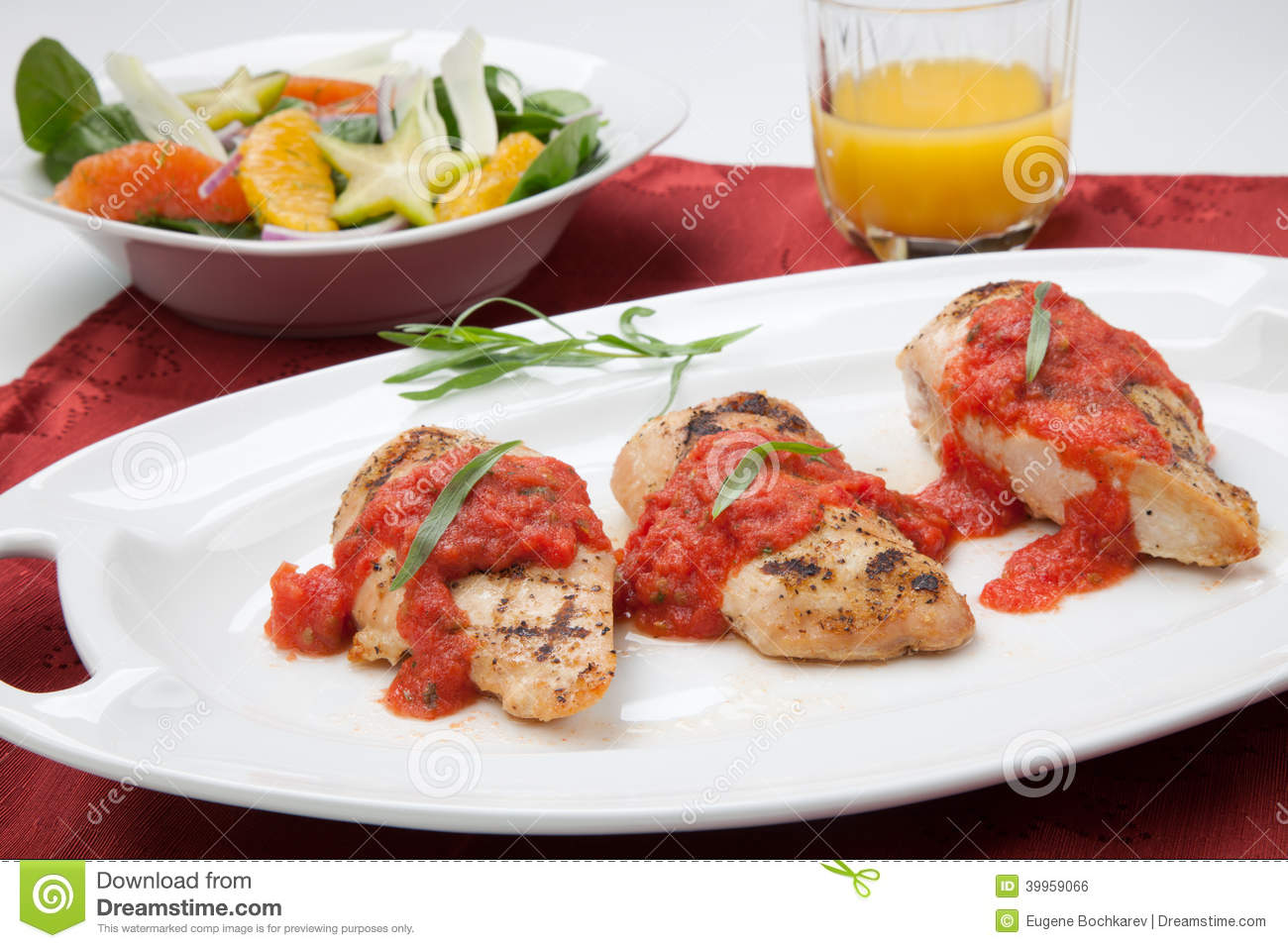 Grilled Chicken Breast With Tomato Tarragon Sauce. Stock Photo - Image ...