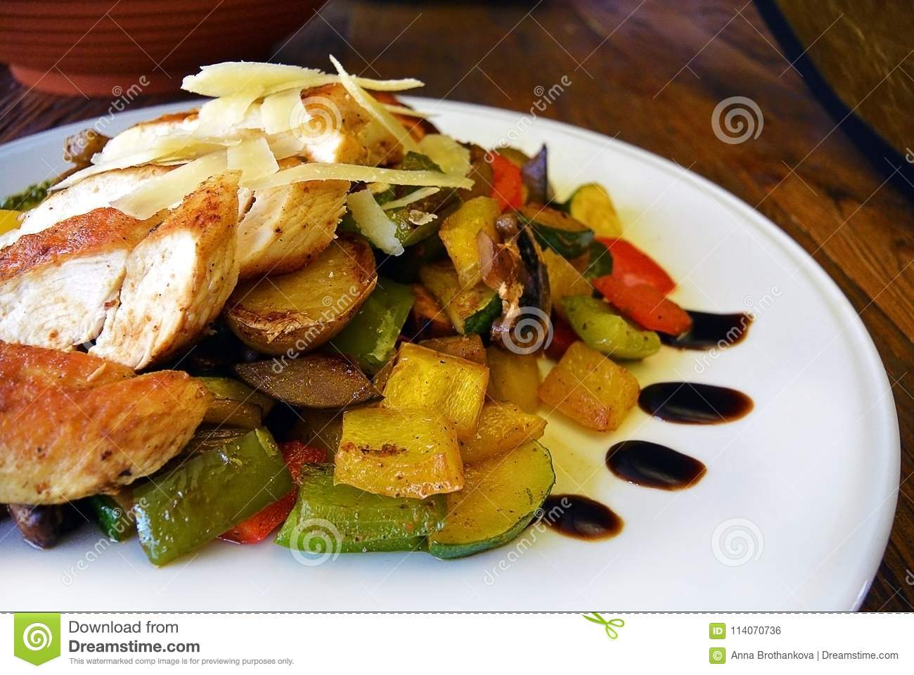 Grilled Chicken Breast, Zucchini And Garden Vegetable Power Bowl ...