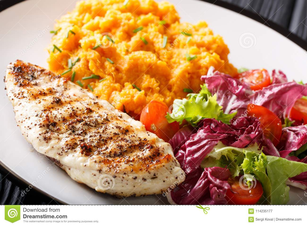 Grilled Chicken Fillet With Mashed Sweet Potatoes And Fresh Lettuce Close Up Horizontal Stock Image Image Of Horizontal Food 114235177