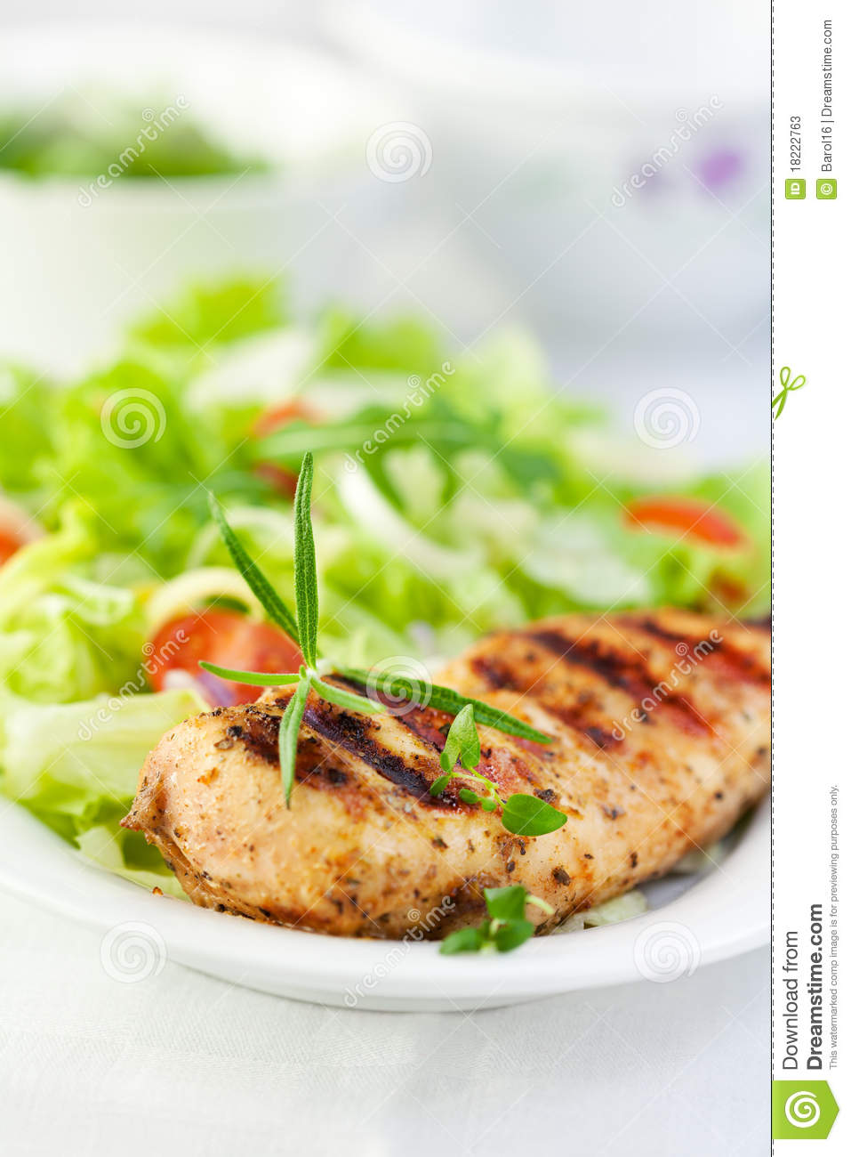 Grilled Chicken With Herbs And Salad Stock Photos - Image: 18222763