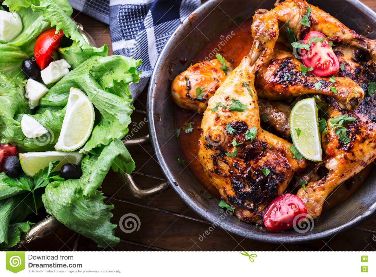 Grilled chicken legs stock photo 34702878 for Authentic mediterranean cuisine