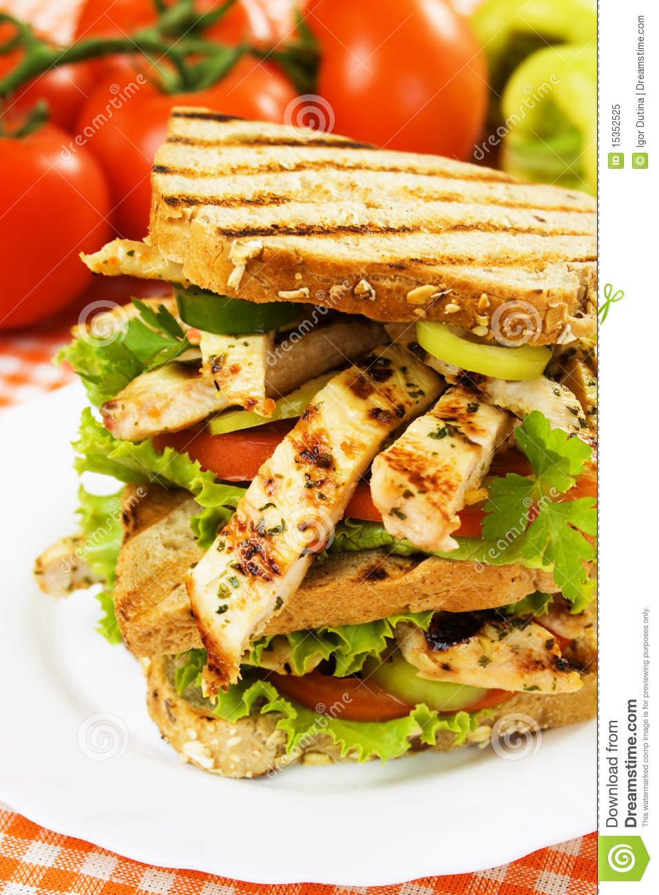 grilled chicken sandwich royalty free stock photo image