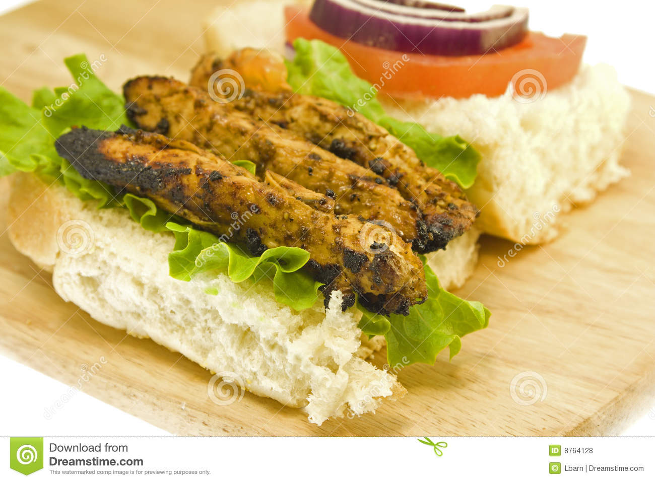 grilled chicken sandwich closeup royalty free stock photos