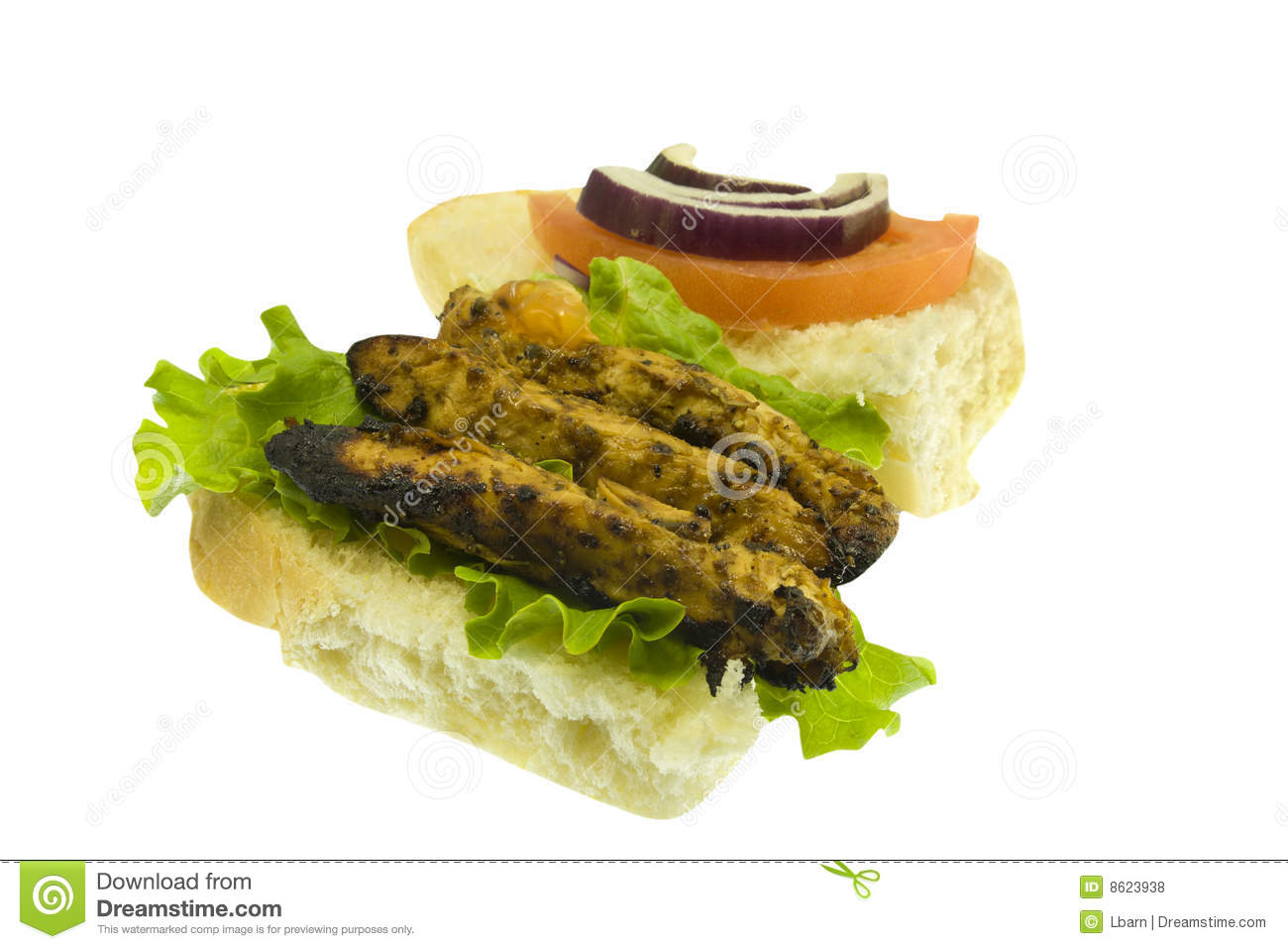 grilled chicken sandwich on white royalty free stock