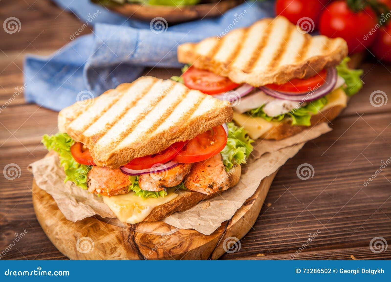 Grilled Chicken Sandwich Stock Photo Image Of Restaurant 73286502