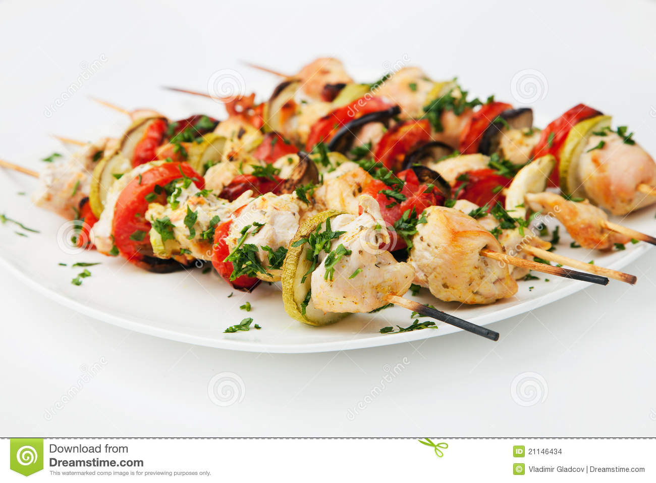 Grilled Chicken Skewers Stock Images - Image: 21146434