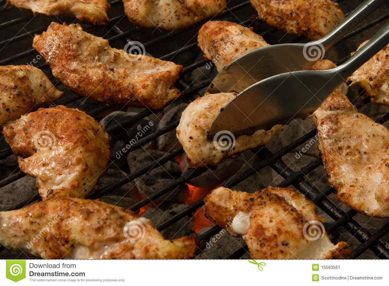 Grilled Chicken Tenders on a Charcoal Grill