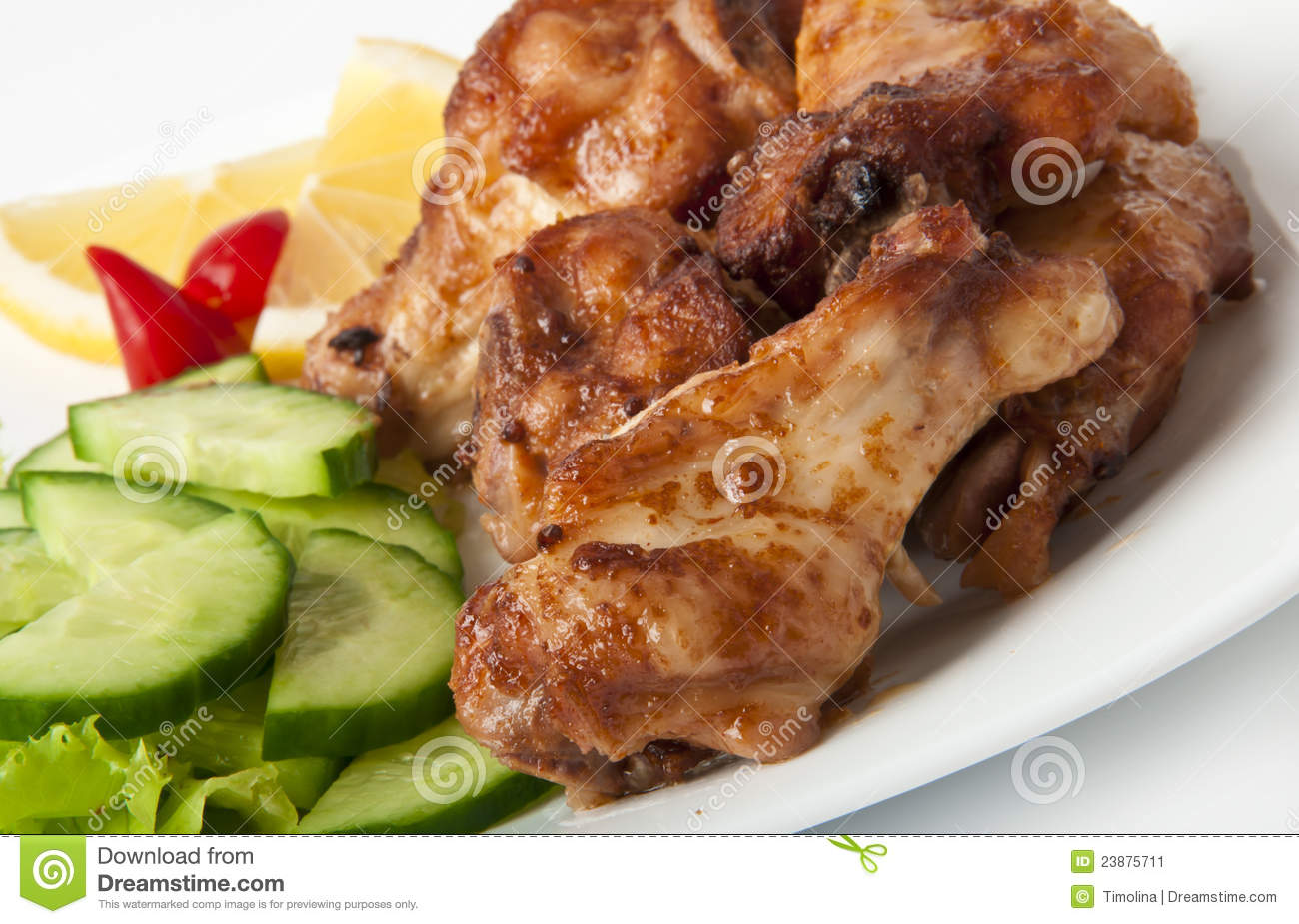 Download Grilled Chicken On A White Plate Stock Image - Image of nutrition, cucumbers: 23875711