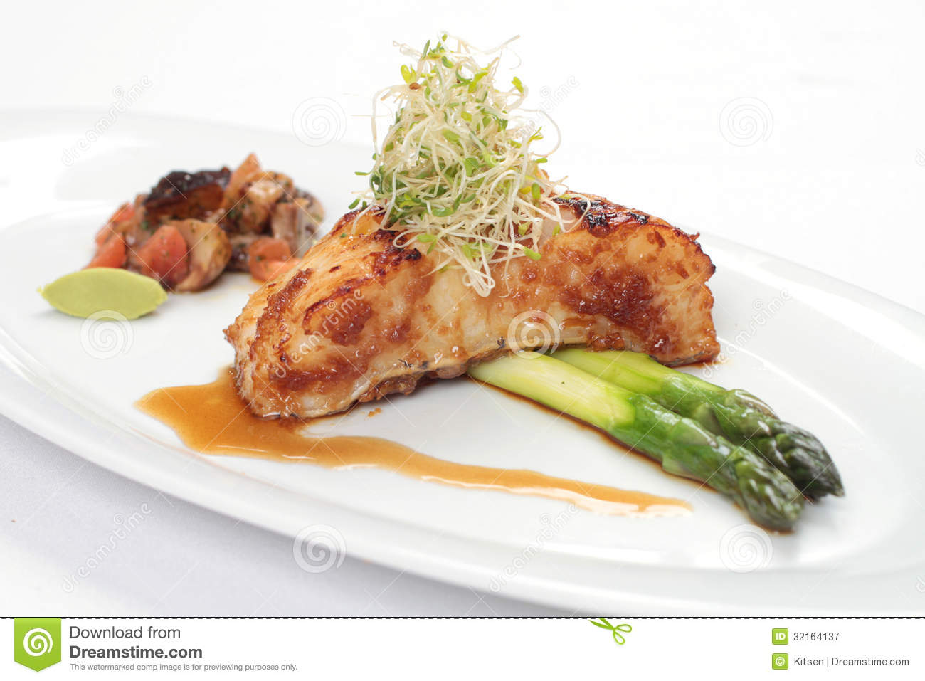 Grilled cod fillet with asparagus stock image image for Grilled cod fish recipe