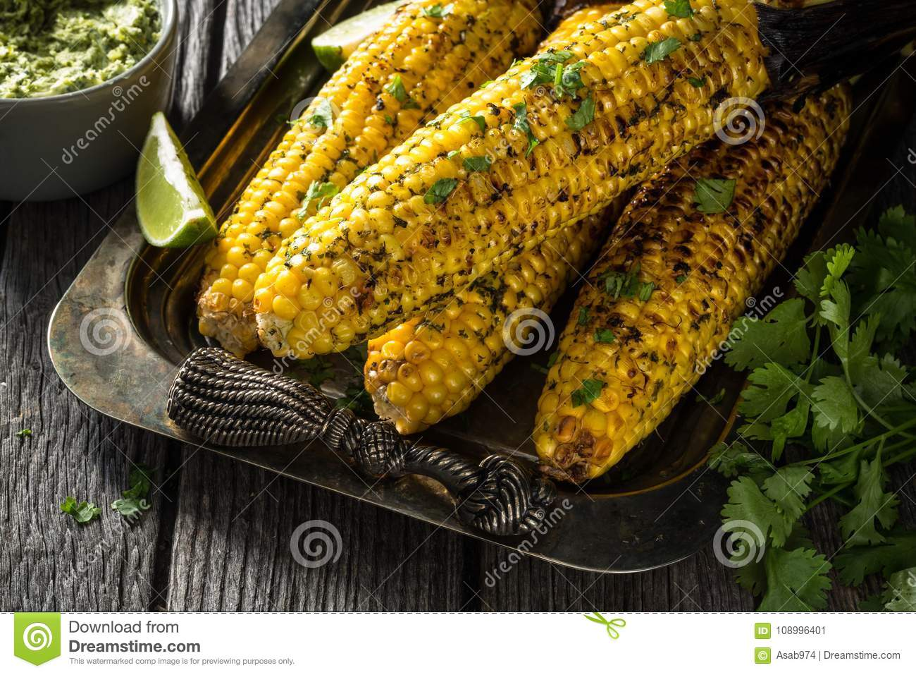 Grilled Corn Cob on Barbecue