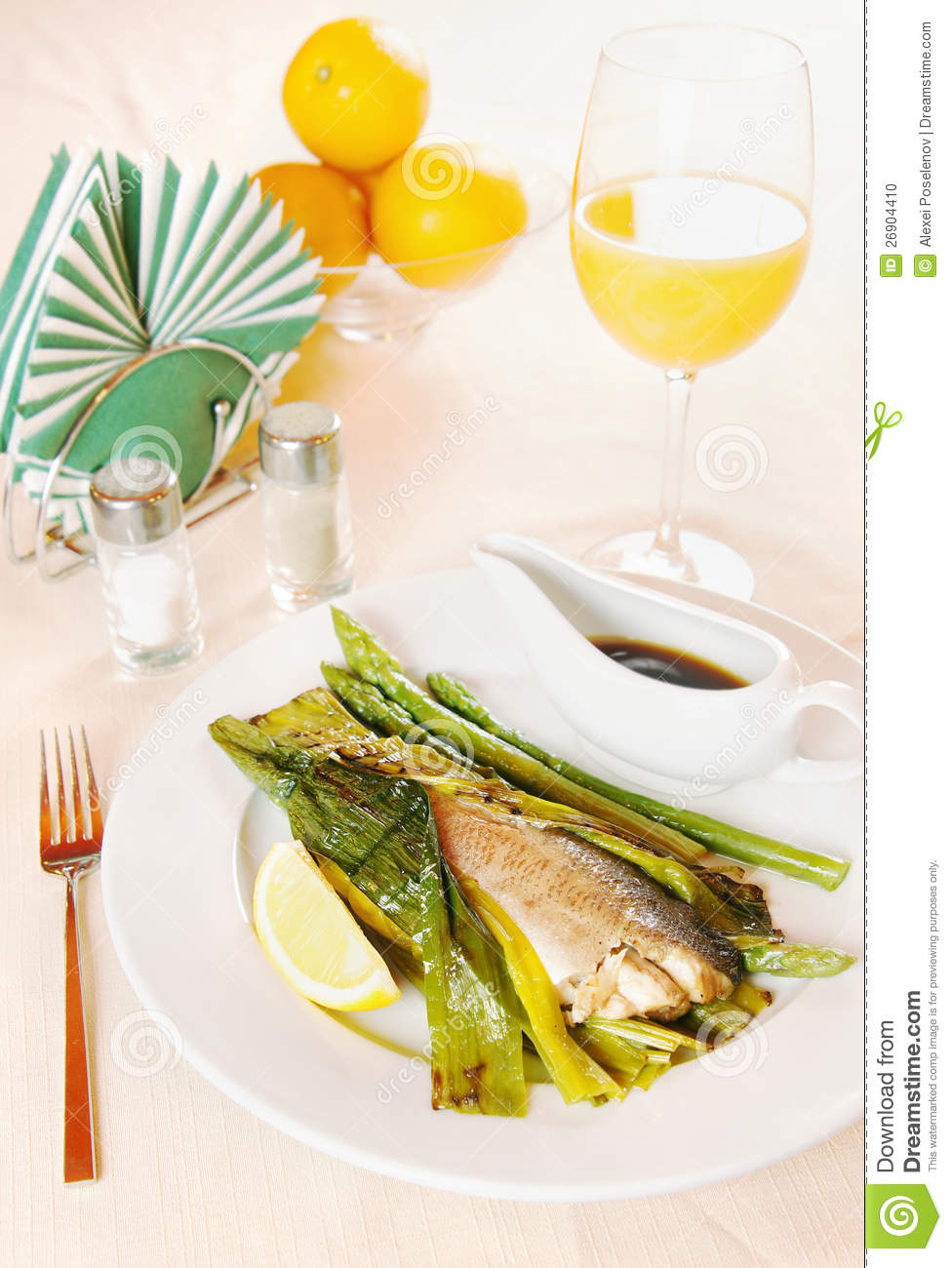 Grilled fish and asparagus on the plate stock photo for Fish and asparagus