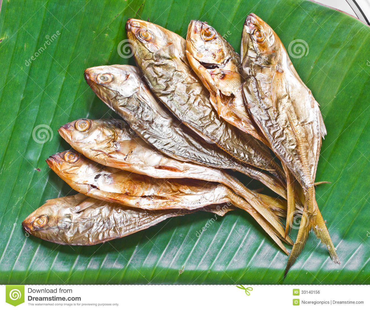 Grilled Fish On Banana Leaf Food. Royalty Free Stock Image - Image ...