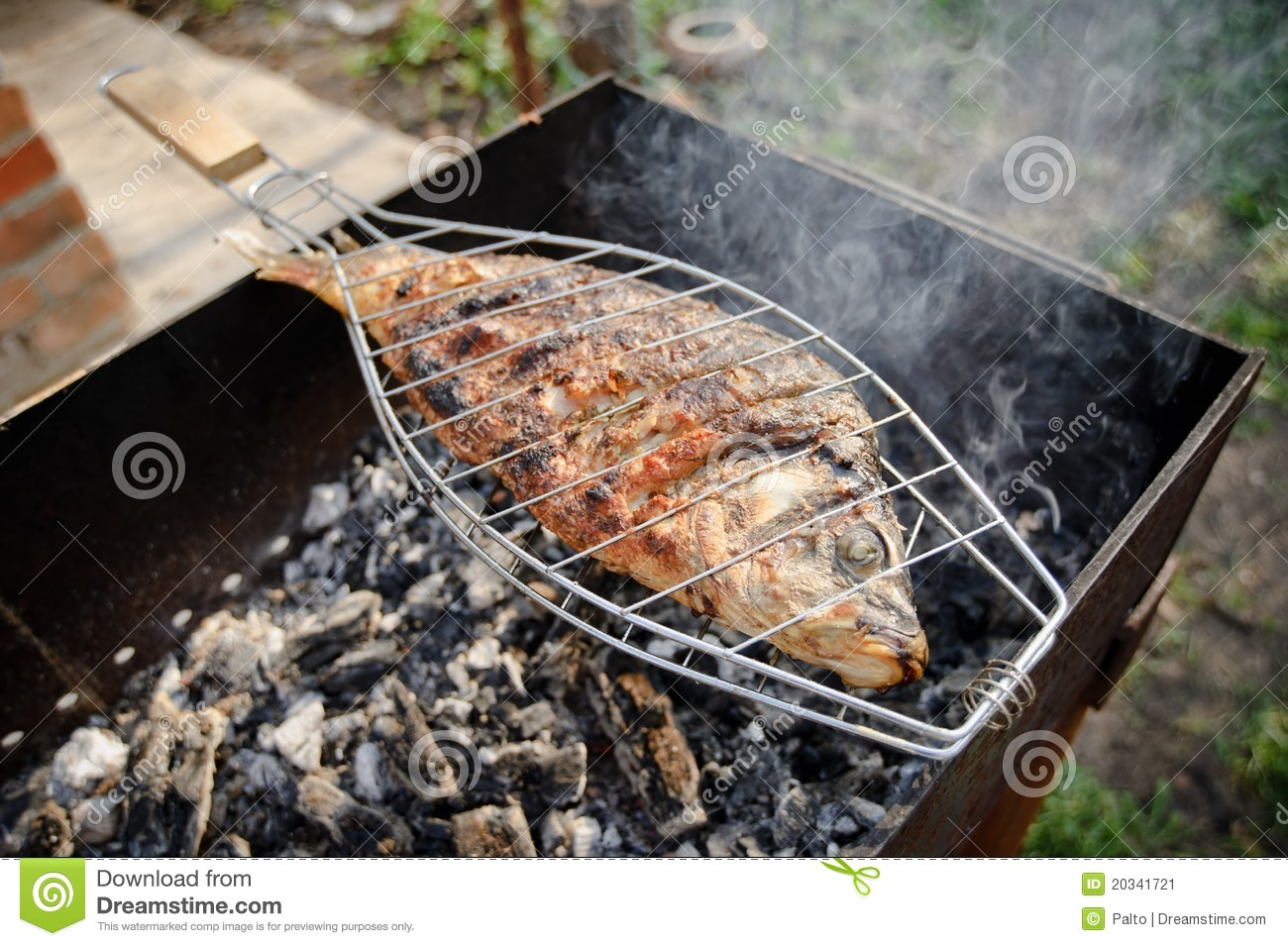 Grilled fish cooking stock image image of health for Bbq fish grill
