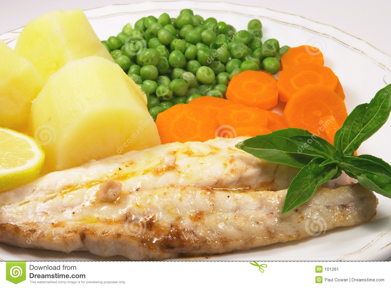 meal of grilled fish f...