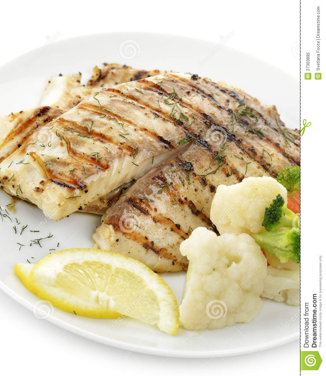 Grilled fish fillet stock image image of plate closeup for How to grill fish fillet