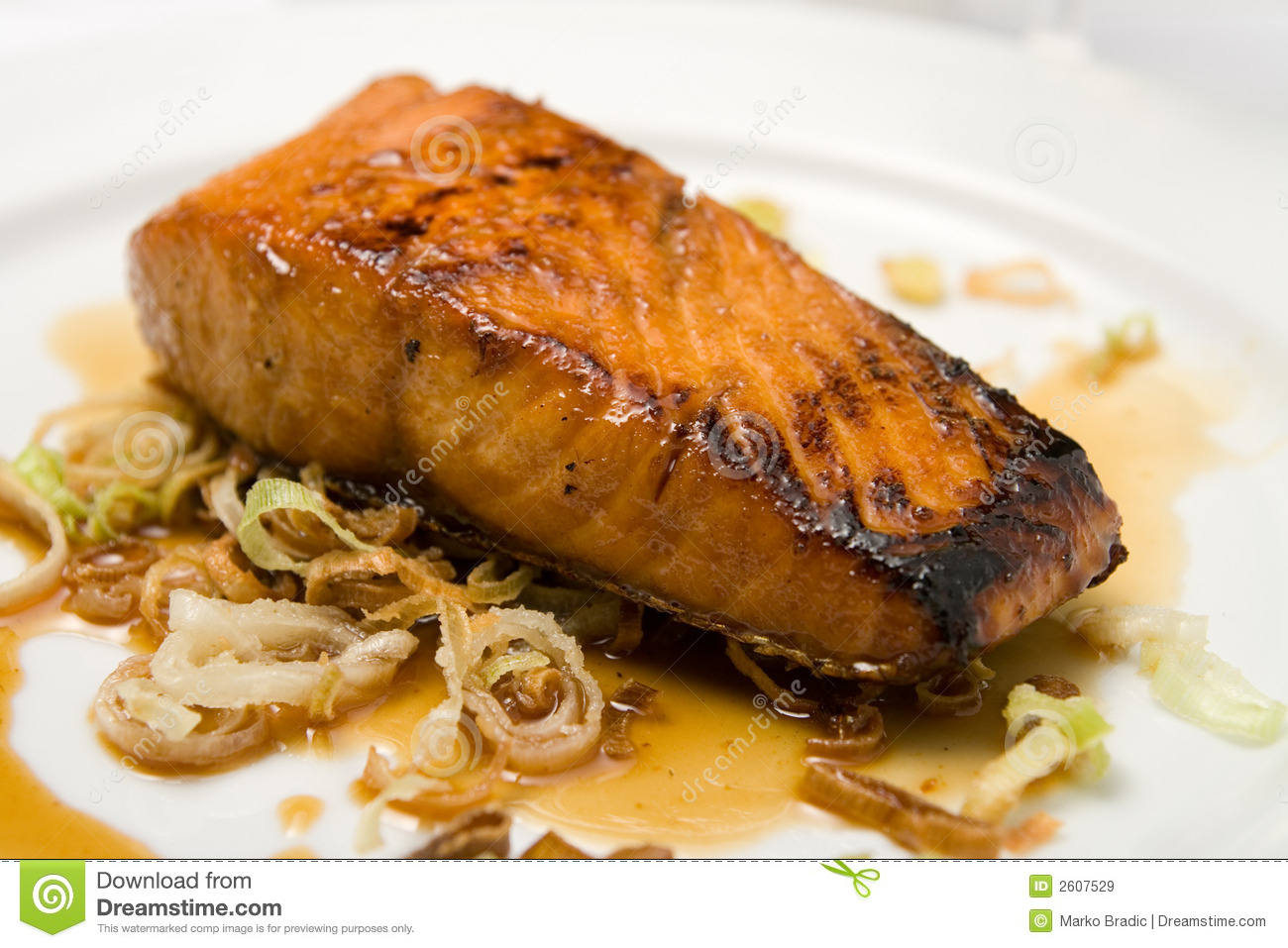Grilled fish fillet on a plate stock image image 2607529 for How to grill fish fillet