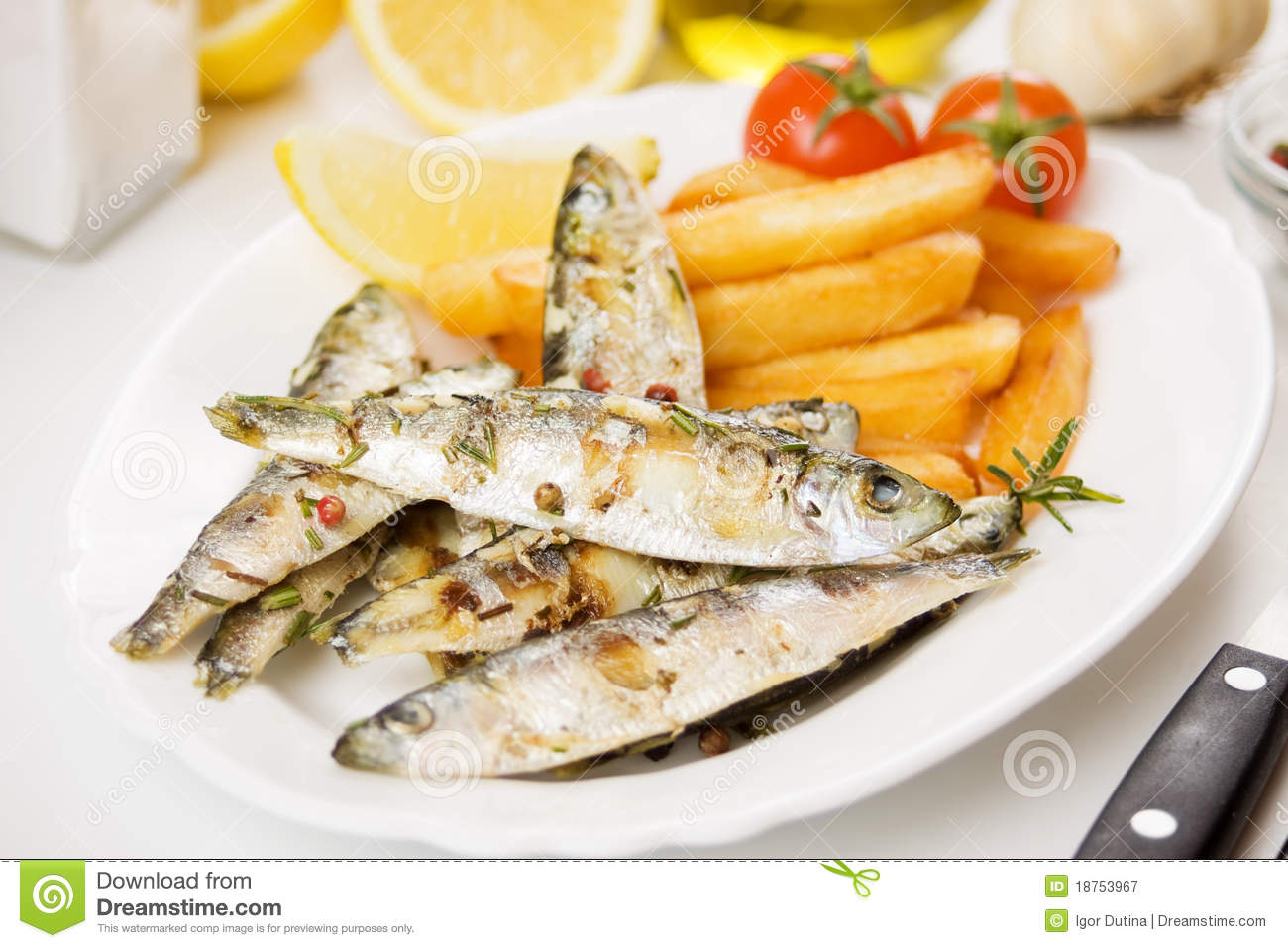 Grilly France  city photo : Grilled Fish With French Fries Royalty Free Stock Photography Image ...