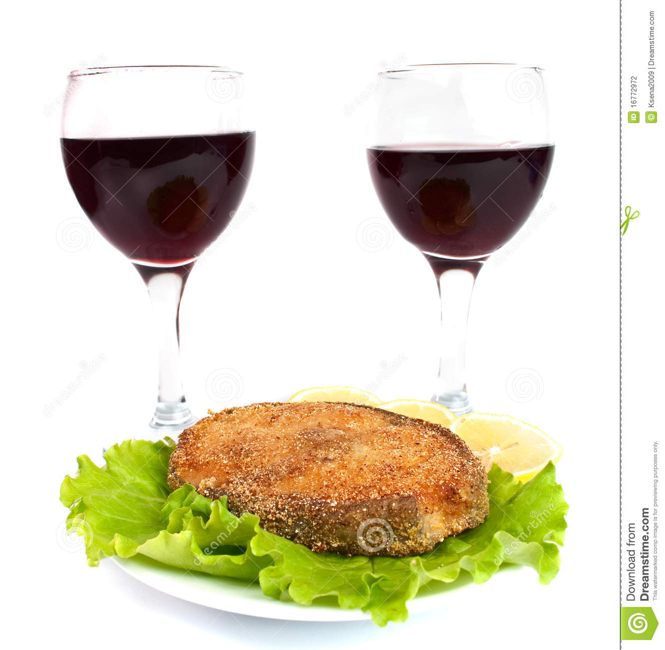 Grilled fish and a glass of wine stock photography image for White wine with fish