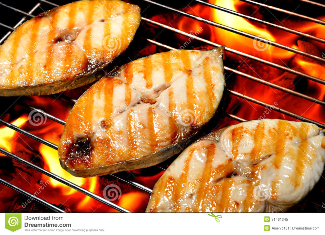 Grilled fish stock image image of mackerel grilling for Bbq fish grill