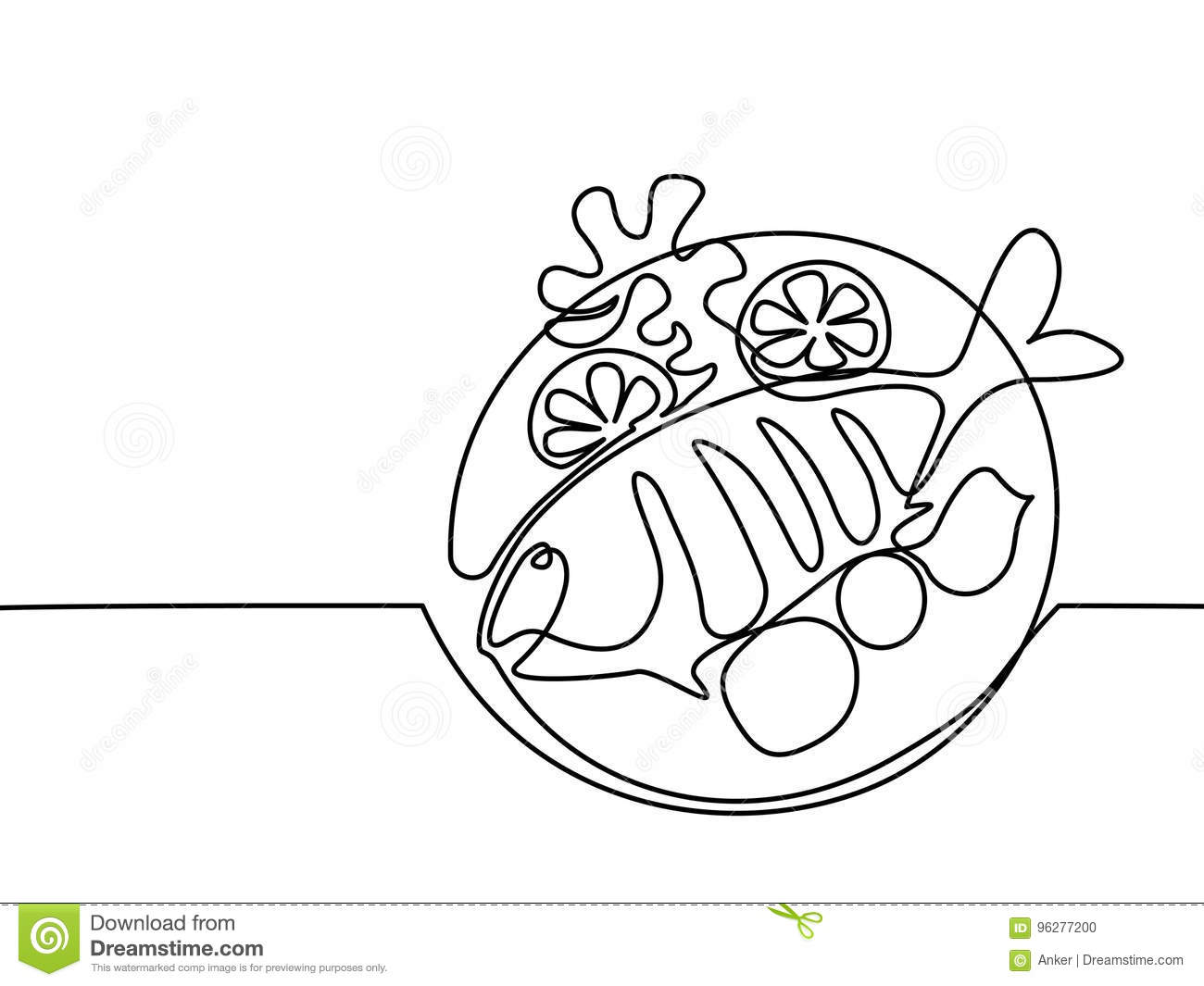 Grilled Fish Plate With Lemon And Potato Stock Vector