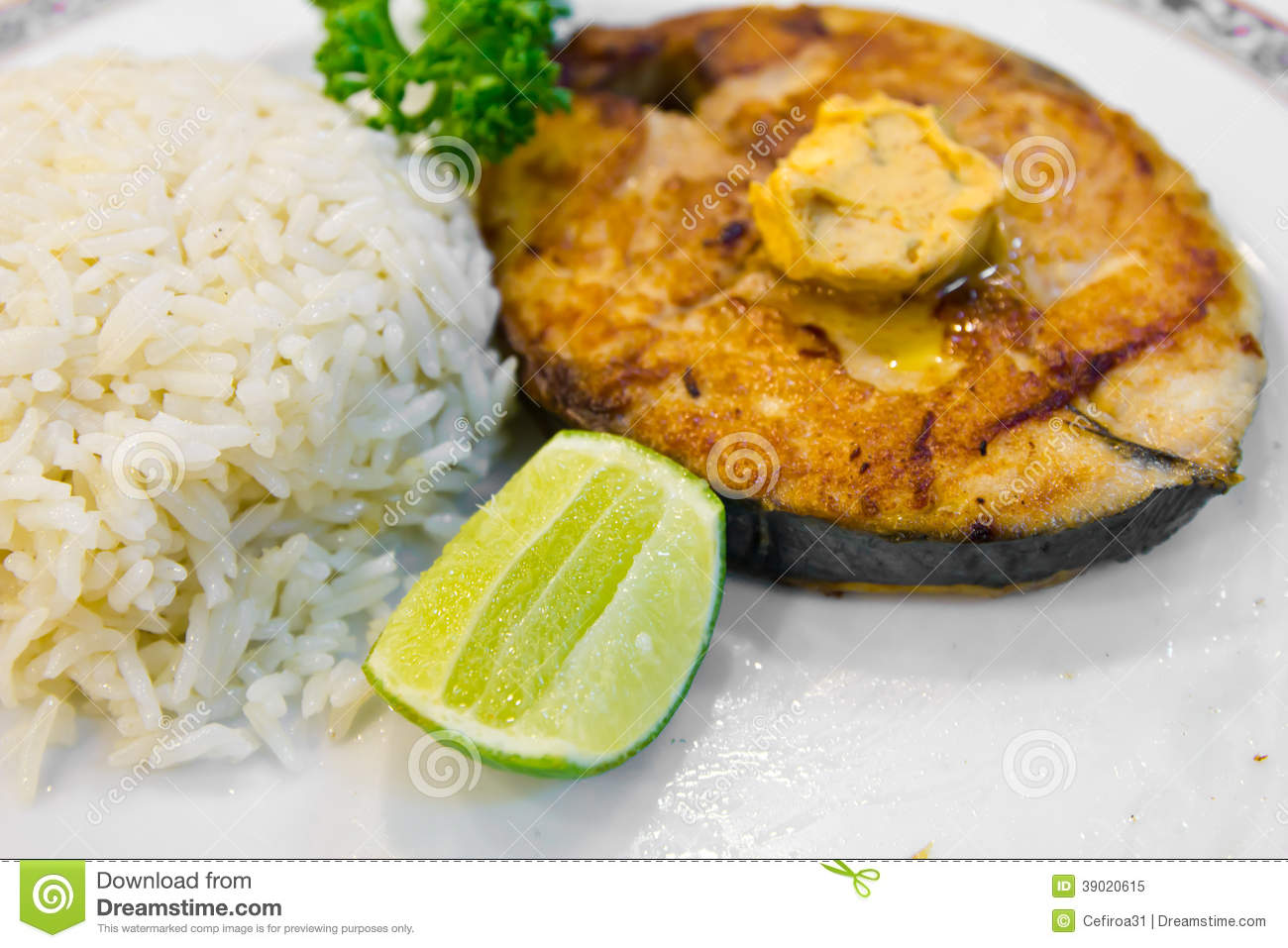 Grilled fish with rice stock photo image 39020615 for Rice dishes with fish