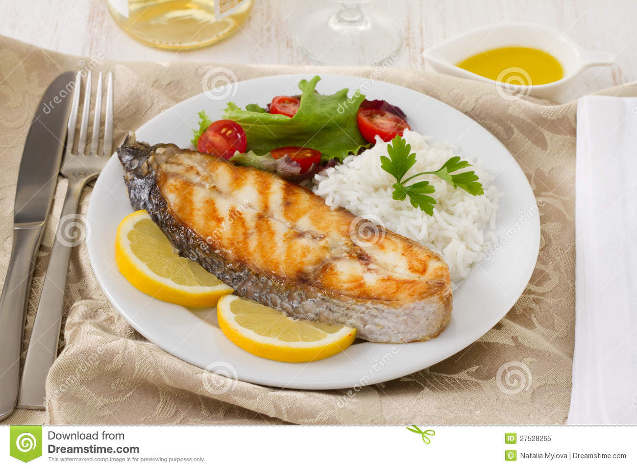 Grilled fish with rice lemon royalty free stock photo for Fish and rice diet