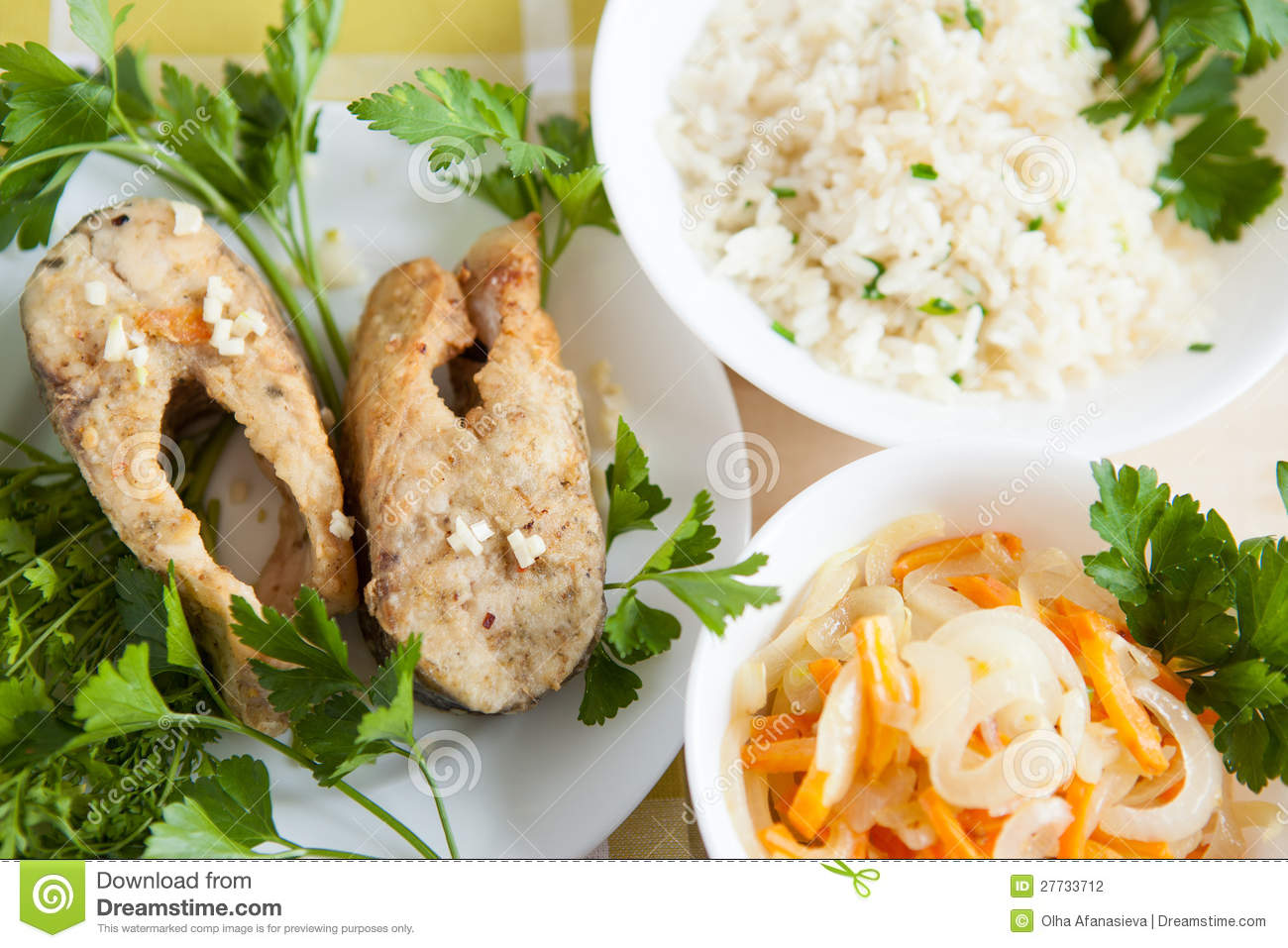 Grilled fish with rice and vegetables stock photography for Fish and rice diet