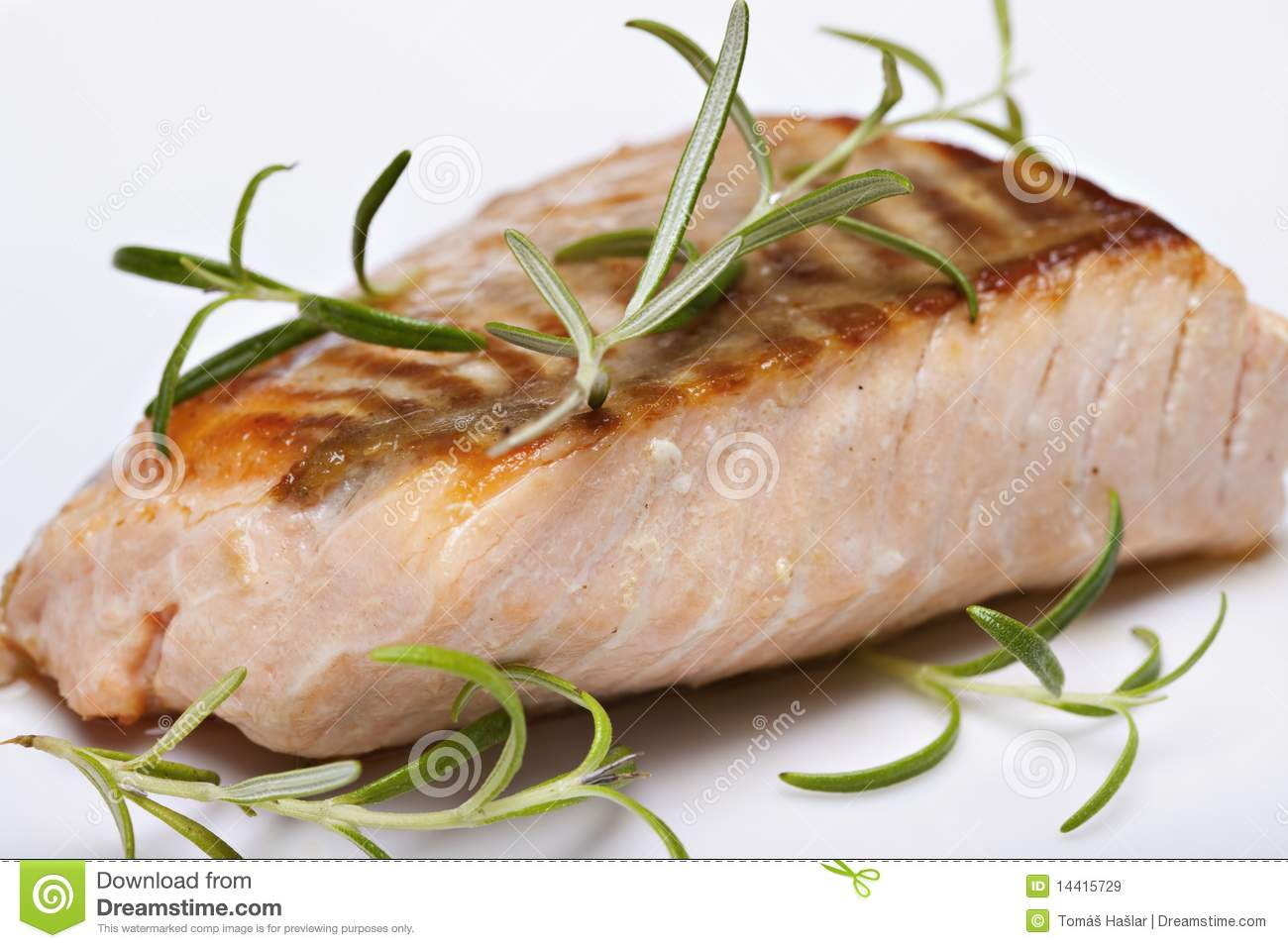 Grilled Fish, Salmon Steak Royalty Free Stock Images - Image: 14415729