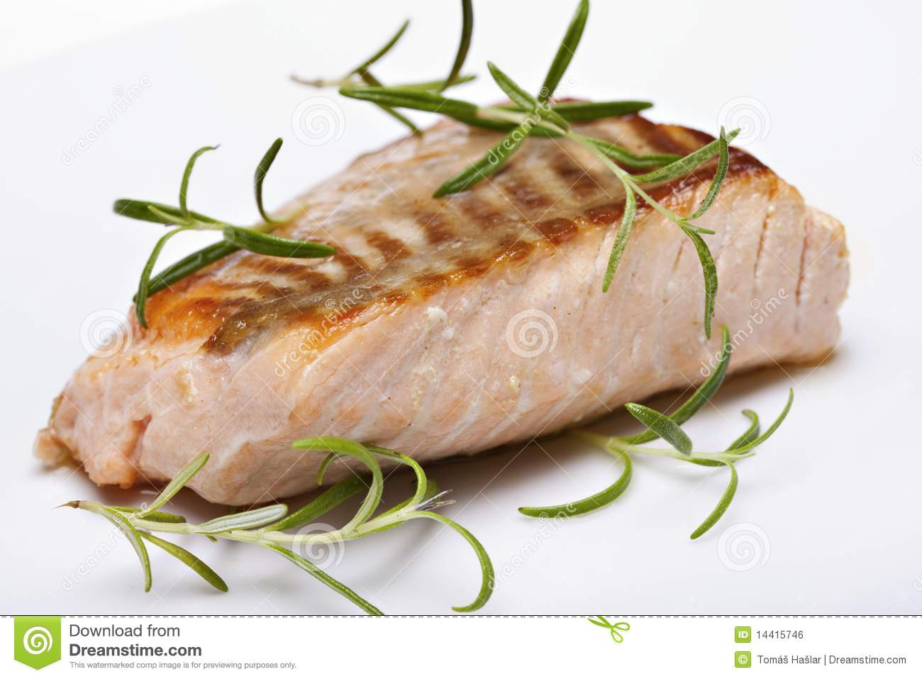 Grilled Fish, Salmon Steak Royalty Free Stock Image - Image: 14415746