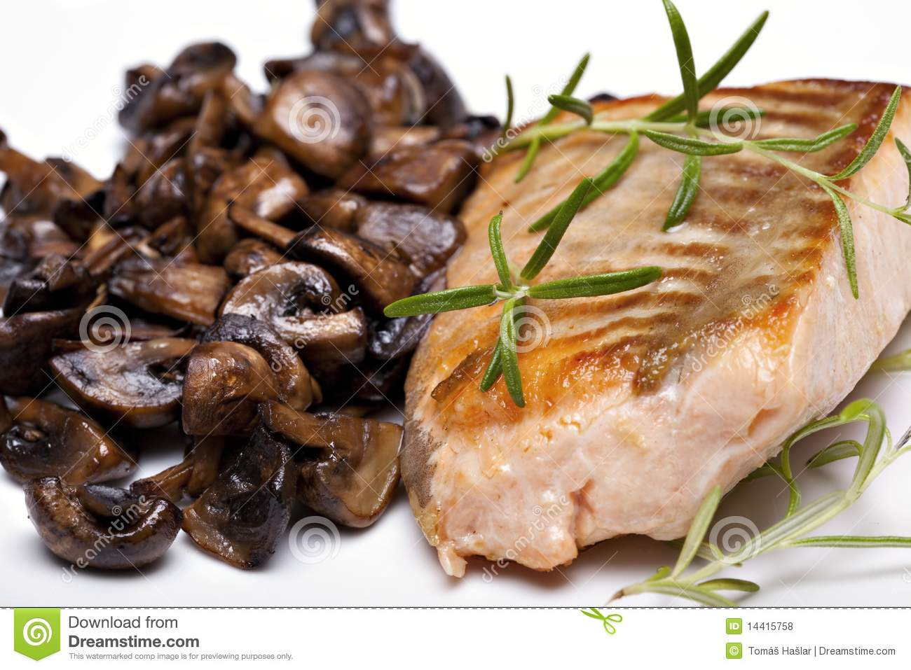 Grilled Fish, Salmon Steak Royalty Free Stock Photos - Image: 14415758