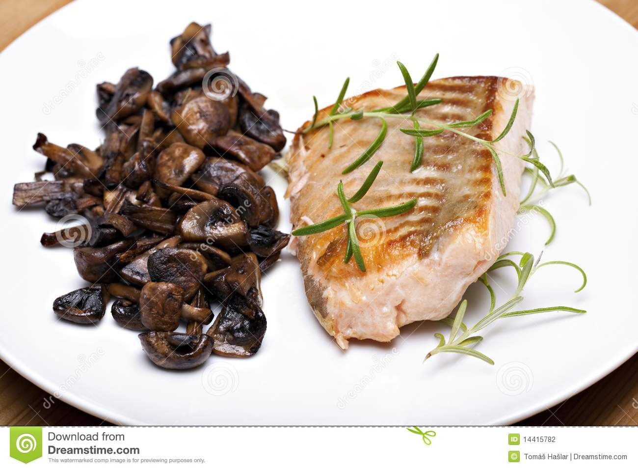 Grilled Fish, Salmon Steak Stock Photography - Image: 14415782